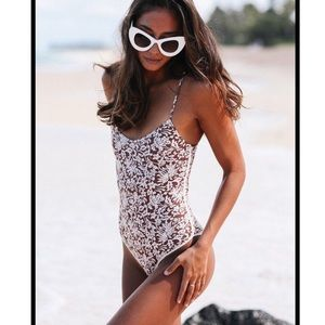 Acacia Waikiki Brown Batik Blossom One Piece Swim